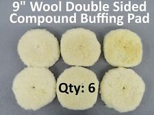 "6 Wool 9"" Screw-On Double Sided Compound Polishing Cutting CleanTec Buffing Pad"