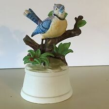 Toyo Blue Jay Music Box Blue Bird Porcelain 5 5/8""