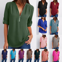 Womens V-neck Tops Loose Long Sleeve T-Shirt Ladies Casual Chiffon Summer Blouse