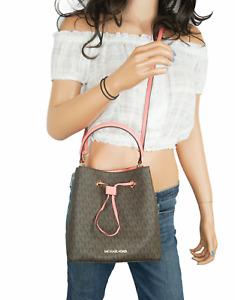 Michael Kors SURI Medium Bucket Crossbody Bag MK Signature Brown Grape Fruit