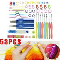 53Pcs Crochet Hooks Knitting Needles Knit Weave Craft Yarn Sewing Kit Set I4O6