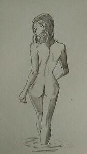 Original Nude Female Figure Sketch