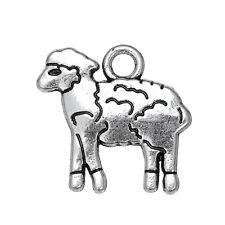 30Pcs Lamb Animal Silver Charms Sheep Tibetan Pendants Pewter Jewelry