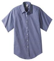 Edwards Garment Women's Short Sleeve Pinpoint Dress Oxford Shirt. 5925