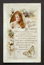 WW1 Postcard 4th Oct 1917 Butterfly Lucky Swastika