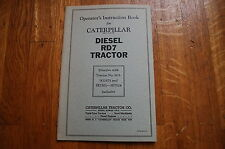 CAT Caterpillar RD7 Tractor Dozer Crawler Operation Operators Manual owner BOOK