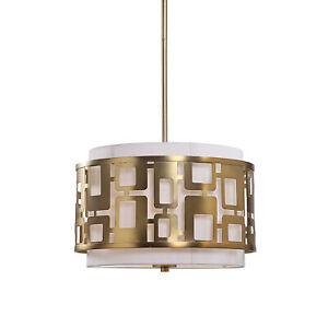 Mid Century Modern Brass White 3 Light Pendant | Gold Cutout Squares Retro Round