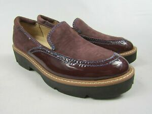 Women's NATURALIZER Burgundy Patent Leather Shoes Platform Loafers Sz 8 NEW