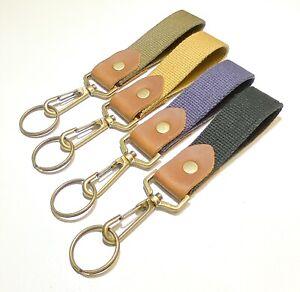 Belt clip key holder cotton webbing 4 colours with leather antique brass slider