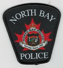 SILK SCREEN BLACK NORTH BAY POLICE SHOULDER PATCH-ONTARIO-CANADA