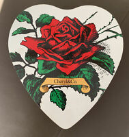 Vintage HEART SHAPE METAL TIN Container Box Roses Valentine Made In England