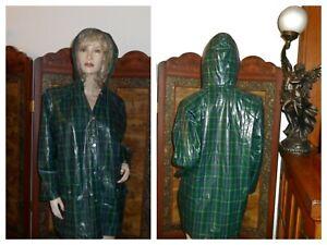 Vtg M Shiny Green Plaid Hooded PVC vinyl raincoat vinyl rain jacket Rain Slicker