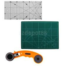 3pcs Rotary Cutting Set 45mm ROTARY CUTTER Self Healing CUTTING MAT RULER