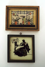 Butterfly Wing Sihouettes Vintage Asian Victorian Hand Painted Glass Miniatures