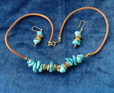 "Turquoise Stones/ Gilded Silver /Leather Thong 17"" and Dropper  Earrings Vintage"