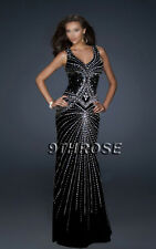 SET A SHINING EXAMPLE! BLACK FORMAL/EVENING/PROM WITH BEADING STREAMS; AU20/US18