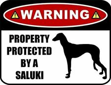 Warning Property Protected by a Saluki (Silhouette) Laminated Dog Sign