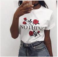 Nothing Letter Print T Shirt Rose Harajuku T-Shirt