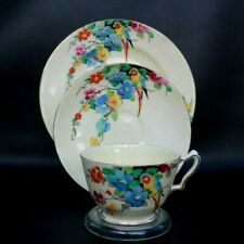 VERY RARE Crown Staffordshire Vintage China trio - Parrots