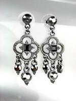 VICTORIAN Artisanal Antique Silver Marcasite Crystals Chandelier Earrings