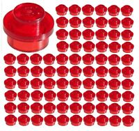 100 Lego lot Bulk 1x1 Stud Transparent Red Plate 30008 3024 City Decorate Lights