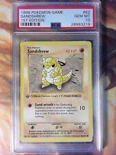 1999 Pokemon Game 62 Sandshrew 1st Edition Shadowless PSA 10 Gem Mint Card