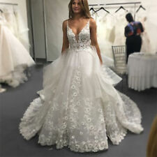 White Ball Gown Spaghetti Straps V Neck Lace Wedding Dresses Bridal Gown Custom