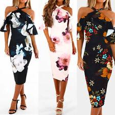 UK Womens Floral Print Summer Bardot Bodycon Evening Party Midi Dress Size 6-12