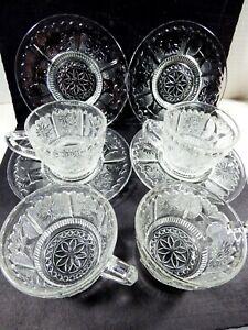Tiara Indiana Glass lot of 4 Tea cup & Saucer sets Clear glass