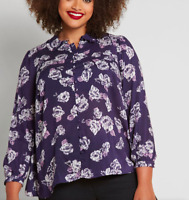 ModCloth Thoroughly Ladylike Button-Up Top in Navy Floral Size XS