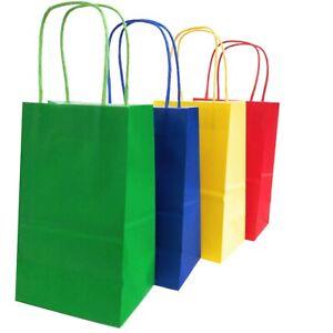 Kelkaa Kraft Bags with Handles 24pcs Assorted Red, Yellow, Green, Royal Blue