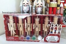 """5"""" Mini Wooden Nutcrackers Paint Your Own Christmas Craft Kit Box Set of 6 DIY"""
