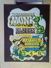 AOR 2.167 Rick Shubbs Art, Monk, Dr John, Carousel Ballroom SF 1968 Poster Mint