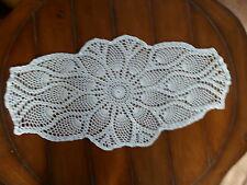 """HAND CROCHETED """"TEA TIME OVAL"""" DOILY ~ BRAND NEW ~ WHITE ~ 17"""" X 31"""""""