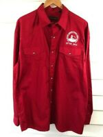 Roper Mens Snap Button Down Red Long Sleeve Jr Rodeo Association Shirt Large L
