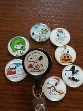 Snoopy Peanuts Retractable Badge Holder, ID Reel, interchangeable HOLIDAY set