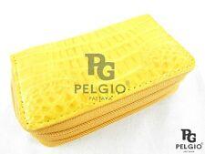 PELGIO Genuine Crocodile Skin Leather Key Holder Wallet Zip Coins Purse Yellow