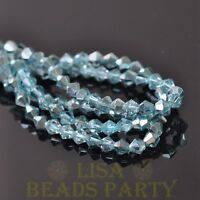 New Arrival  200pcs 4mm Faceted Bicone Loose Spacer Glass Beads Light Blue