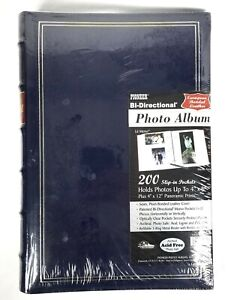 NEW Pioneer Leather Bonded BLUE Photo Album Holds 200 Pictures 4x6 and 4x12