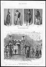 1886  Antique Print - LONDON Indian Colonial Exhibition Bamboo Trophy Sikh (222)