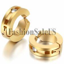 Men's Women's Fashion Stainless Steel Non-Piercing Clip-on Charm Hoop Earrings