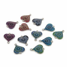10pcs Mixed Heart Oil Drip Connectors Alloy Charms DIY Jewelry Findings 16*20mm