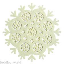 """12"""" Crema di cristallo Luogo Tappetino Feltro Fiocco Di Neve Natale Avorio Decorativo Tappetino natale"""