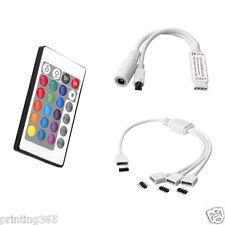 24-Taste LED IR Remote Controller + 1 zu 3 4pin RGB Kabel für 5050 LED Streifen