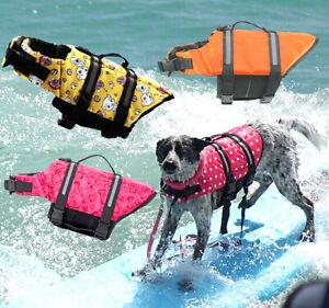 Pet Dog Life Jacket PULL Handle Reflective Swimsuit adjust Safety Easy Vest