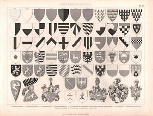 1870. HERALDRY. COAT OF ARMS. Antique lithograph