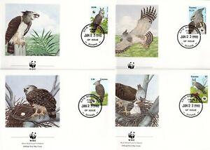 Guyana 1990 WWF Birds Birds of Prey Harpy Eagle SET OF 4 FDC