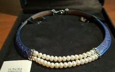 """New! Honora Sterling  2 Row  38 Freshwater Pearls Dark Blue Leather Necklace 18"""""""