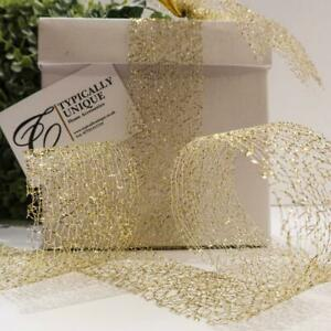 NEW FINE GOLD MESH CHRISTMAS RIBBON GIFT WRAPPING CRAFT BOWS  'GRACEY'