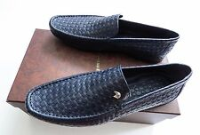 $1795 NEW STEFANO RICCI Blue Leather Loafer Shoes Size 9 US 42 Euro 8 UK
